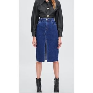 Zara Hi-Rise Midi Jean Skirt with Raw Edge Hem